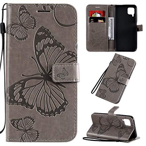 SMYTU Hülle für Huawei P40 Lite,Handyhülle Leder Huawei P40 Lite,Etui Klapphülle Magnetisch Ledertasche Schutzhülle für Huawei P40 Lite(B-Grau)
