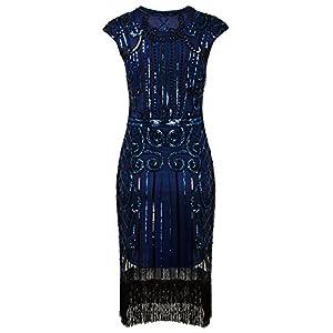 Vijiv 1920s Vintage Inspired Sequin Embellished Fringe Long Gatsby Flapper Dress,Large,Blue