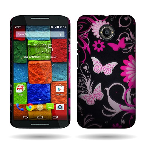 Motorola Moto X (2nd Generation) Case, by CoverON Pink Butterfly Design Case Protective Cover for Motorola Moto X (2nd Gen.) 2014