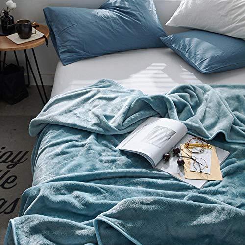Amosiwallart Mantas para Sofa, Mantas para Cama de Franela Reversible, Mantas Ligeras de 100% Microfibra - Fácil De Limpiar - Extra Suave Cálido -Azul grisáceo_180X200cm2,3 kg