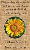 Wedding Wildflower Seed Packet Favors 50 qty. Personalized-Burlap Sunflower Design 6 verses to choose