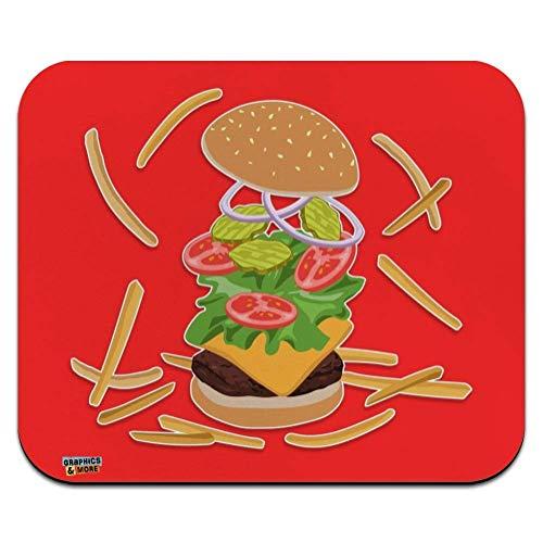 Burger Und Pommes Mit Salat Käse Tomaten Und Gurken Ultradünner Mauspad Rutschfestem Maus Mat Laptop/Pc Maus Pad Für Office,Geschenk,Gaming,25X30Cm