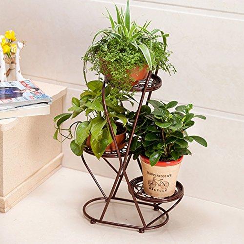 Étagère fleur verte salon plancher type étagère fleur verte multi-étages étagère étagère européenne (Couleur : Marron)