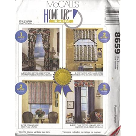 mccall s 8659 home dec in a sec patterns for 4 curtains