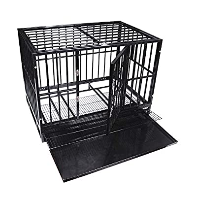 42'' Size Heavy Duty Pet Dog Cage Strong Metal Crate Kennel Playpen w/Wheels&Tray