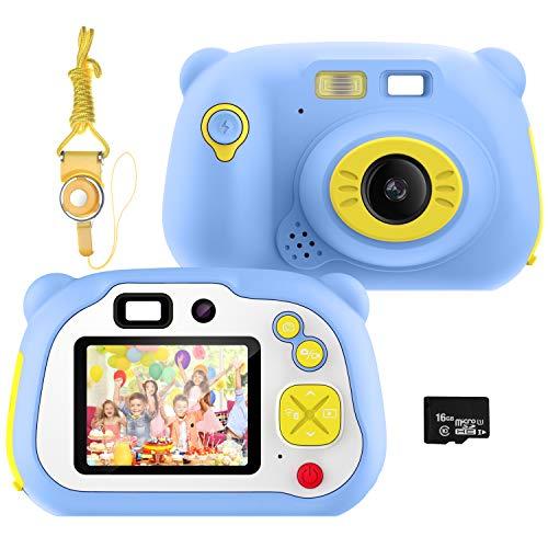 Cámara para niños Pancellent,videocámara Digital HD 1080P con Tarjeta TF de 32G, cámara de Juguete Recargable con Flash de Enfoque automático con cámara para niños pequeños (Azul)