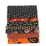 Libelyef - Juego de 8 hojas cuadradas de tela de algodón para Halloween, diseño de flores, para manualidades, accesorios hechos a mano