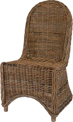 korb.outlet Eleganter Esszimmer-Stuhl, Grau aus Rattan