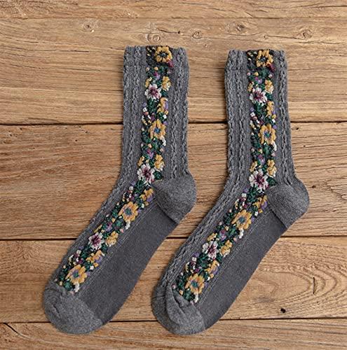 1 par Streetwear Flower Bord Bords Lindos Calcetines Mujeres Japonés Coreano Harajuku Estilo Kawaii Calcetines (Color : 14, Size : One Size)