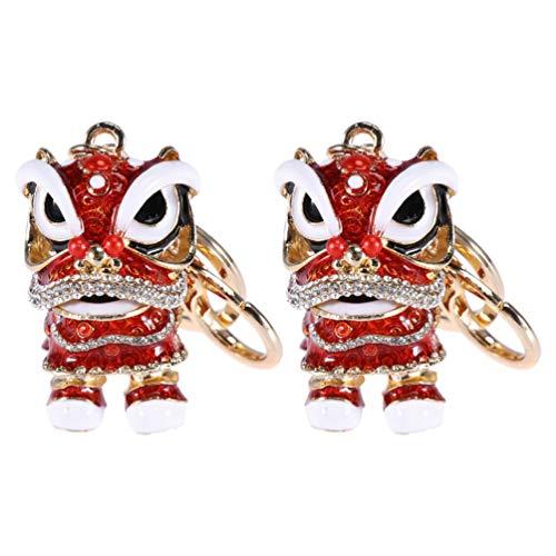 VALICLUD 2Pcs Strass Chinês Leão Keychain Chave Titular Chaveiro Animais Decorativo De Cristal Fortuna Sorte Bolsa Pingente Favor de Partido para O Miúdo Das Mulheres da Menina de Presente