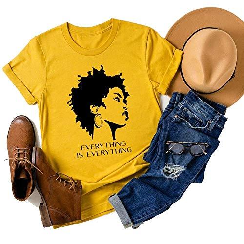 Music Tees Concert Shirt Black Power Black Girl Magic T-Shirt Afro Woman Black Girl Tee Afro Queen Tops (Large, Yellow)