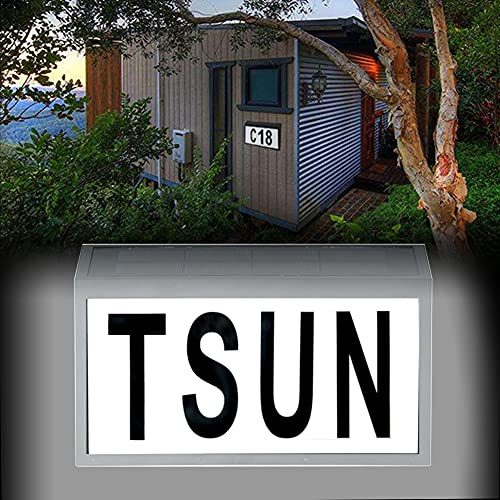 BLLJQ Número De Casa con Energía Solar con Interruptor Crepuscular, Ip65 Impermeable, 10 Luces Led, con Números 0-9 Y Letras A-z, para El Hogar, Patio, Calle Exterior
