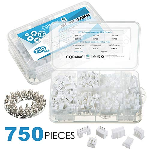 CQRobot 750 Stücke 2.0mm JST-PH JST Steckverbinder Kit. 2.0mm Pitch Weiblich Polig Header, JST PH - 2/3/4 Polig Gehäuse JST Adapter Kabel Stecker Buchse Männlich und Weiblich, Crimp DIP Kit.