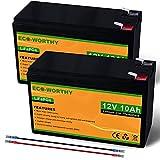 ECO-WORTHY - Set di 2 batterie al litio 10 Ah 12 V, LiFePO4 ricaricabili con energia solare, scaricamento profondo superiore a 3000 volte, perfette per applicazione off-grid/marina/solare