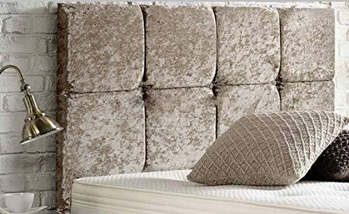 Cabecero de cama de diván con 8 cubos, de lujo, acolchado de terciopelo, diseño resistente, tela, champán, King Size 5 FEET, Height 20 INCHES