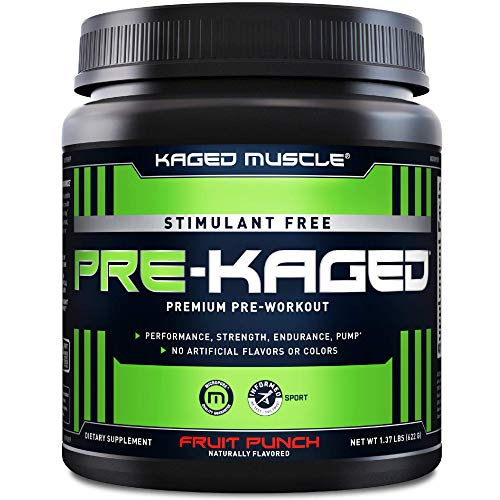 Stimulant Free Pre Workout Powder; KAGED MUSCLE Preworkout for Men & Pre Workout Women, Delivers Increased Strength, Endurance & Pumps; One of The Highest Rated Pre-Workout Supplements, Fruit Punch
