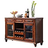 Buffet Server Sideboard,Console Table,Wood Dining Table,Cupboard Table with 3 Cabinets,3 Drawers and 8 Wine Cabinets Sideboard Buffet (Color : Wine red, Size : 140x42.5x90cm)