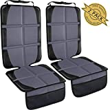 Seat Protector, Child Car Seat Protector for Vehicle Leather Car Seat, Large Automotive Baby Carseat Mat Pad with Large Pockets for Handy Storage, Durable Waterproof 600D Fabric, Gray