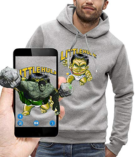 PIXEL EVOLUTION 3D animierte Kapuzenpullover Little Hulk in Augmented Reality - Herren - größe L - Grau