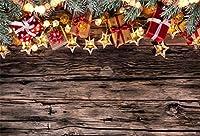 Qinunipoto クリスマス Merry Christmas 写真撮影用 背景布 背景 布 写真 摄影 撮影用 人物撮影 プレゼント 木の板 背景シート 写真館 撮影スタジオ用 ポリエステル 洗濯可 2.1x1.5m