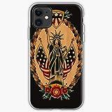 America Old Watercolor American School Traditional Tattoo Flash El | Funda para teléfono para iPhone...