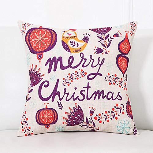 Almohada cuadrada Almohada navideña Santa Muñeco de nieve Sofá de dibujos animados Decoración Cojín Cojín Nochebuena Regalo de año nuevo-45cm (lino de poliéster de doble cara + núcleo) _Pink