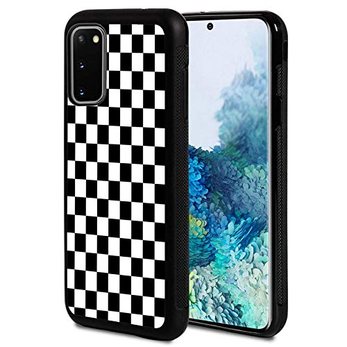 Galaxy S20 FE 5G Case,Black White Checkered Design Shockproof Slim Anti-Scratch TPU Rubber Protective Case Cover Compatible with Samsung Galaxy S20 FE 5G