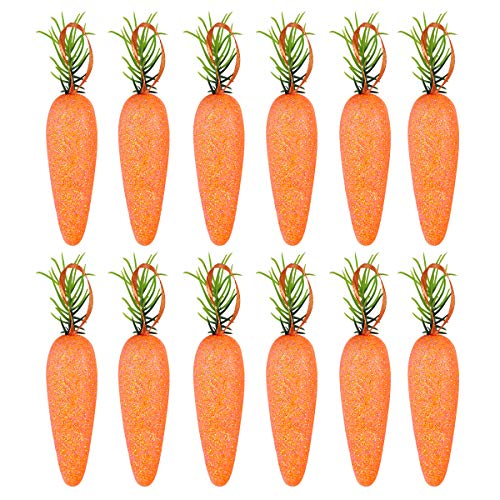 Amosfun Easter Carrots Glitter Foam Carrorts Artificial Vegetables Photo Booth Props for Home Kitchen Cabinet Decoration[20Pcs]