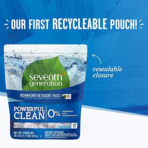 Seventh Generation Fragrance-Free Dishwasher Detergent Pack, 45 counts, 2 packs