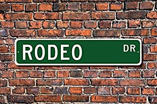 Fhdang Decor Rodeo, Rodeo Sign, Rodeo Fan, Rodeo Participant, Rodeo Gift, Cowboy/Cowgirl Gift, Horse Show Lover, Custom Street Sign, Metal Sign, 4