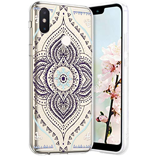 Robinsoni Compatible avec Xiaomi Mi 8 Coque en Silicone Transparente Motif Mandala Fleur Jolie Housse de téléphone Gel TPU Souple Ultra Mince Crystal Clear Skin Étui Coque pour Xiaomi Mi 8,11#