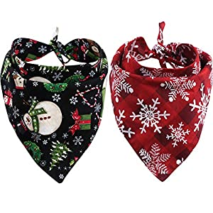 KZHAREEN 2 Pack Christmas Dog Bandana Reversible Triangle Bibs Scarf Accessories for Dogs Cats Pets Animals