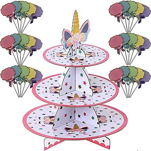 Soporte para Cupcakes 3-Tier, 30 Pcs Cupcake Topper Palillos, Cartón Cupcake Stand Redondo Soporte Postre para Bebé Shower Niños Fiesta Cumpleaños Party Temático