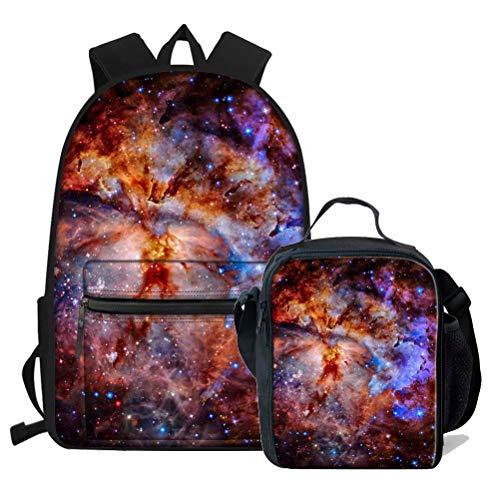 Chaqlin - Mochila escolar para adolescentes y niñas, diseño de galaxia, Poliéster, Galaxy-5 (2 piezas/juego)., Talla única