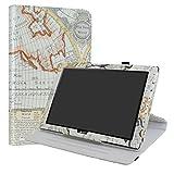 Acer Iconia One 10 B3-A40 Rotary Funda,LiuShan Giratoria 360 Grados de Rotación Carcasa con Stand Soporte Caso para 10.1' Acer Iconia One 10 B3-A40 Android Tablet,Map White