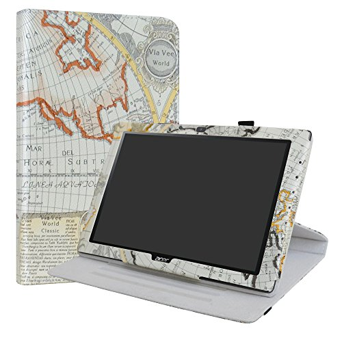 Acer Iconia One 10 B3-A40 Rotating Case,LiuShan 360 Degree Rotation Stand PU Leather With Cute Pattern Cover for 10.1' Acer Iconia One 10 B3-A40 Tablet,Map White