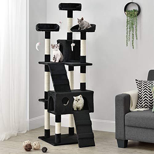Sam´s Pet Katzen-Kratzbaum Amy schwarz | Katzenbaum inkl. Höhlen, Liegeflächen, Treppen & Sisal Stämme | 170 cm hoch | Katzenkratzbaum