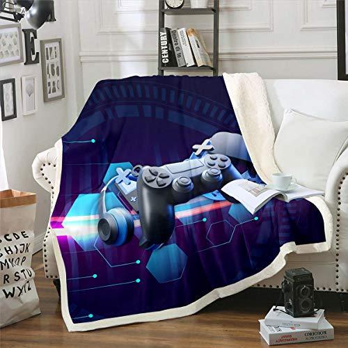 Homewish Manta de forro polar para niños, adolescentes y niños, diseño de videojuegos, estampado de videojuegos 3D, manta sherpa, moderna y cálida de franela suave, color negro, doble de 152 x 200 cm