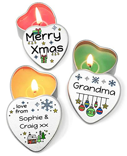 The Plum Penguin Personalised Set of 3 Christmas Candles in Heart Shaped Mini Tins Fun Snowflakes and Presents Colourful Cartoon Design Gift Merry Xmas to Someone Special