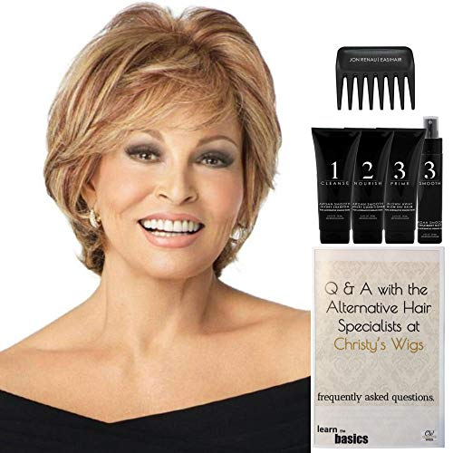 Bundle - 7 items: Applause by Raquel Welch Human Hair Wig, Christy's Wigs Q & A Booklet Luxury Shampoo & Conditioner Blown Away Treatment Mist Wide Tooth Comb - Color: 1621S+
