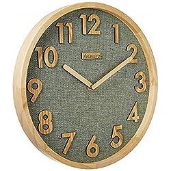 JIYUERLTD 12 inch Silent Wall Clock Kitchen Clock Non-Ticking Quartz 3D Wood Numbers Display, Wood Frame with Linen Face Clock for Home Office Classroom School (Natural Wood +Green Linen)