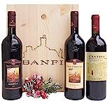 Nella bellissima cassetta in legno originale sono inclusi i grandi vini Banfi della Toscana 1 Bottiglia Rosso Toscana IGT Centine da 75 cl;1 Bottiglia Brunello DOCG da 75 cl; 1 Bottiglia Rosso Montalcino DOC da 75 cl; Un regalo unico indicato per ogn...