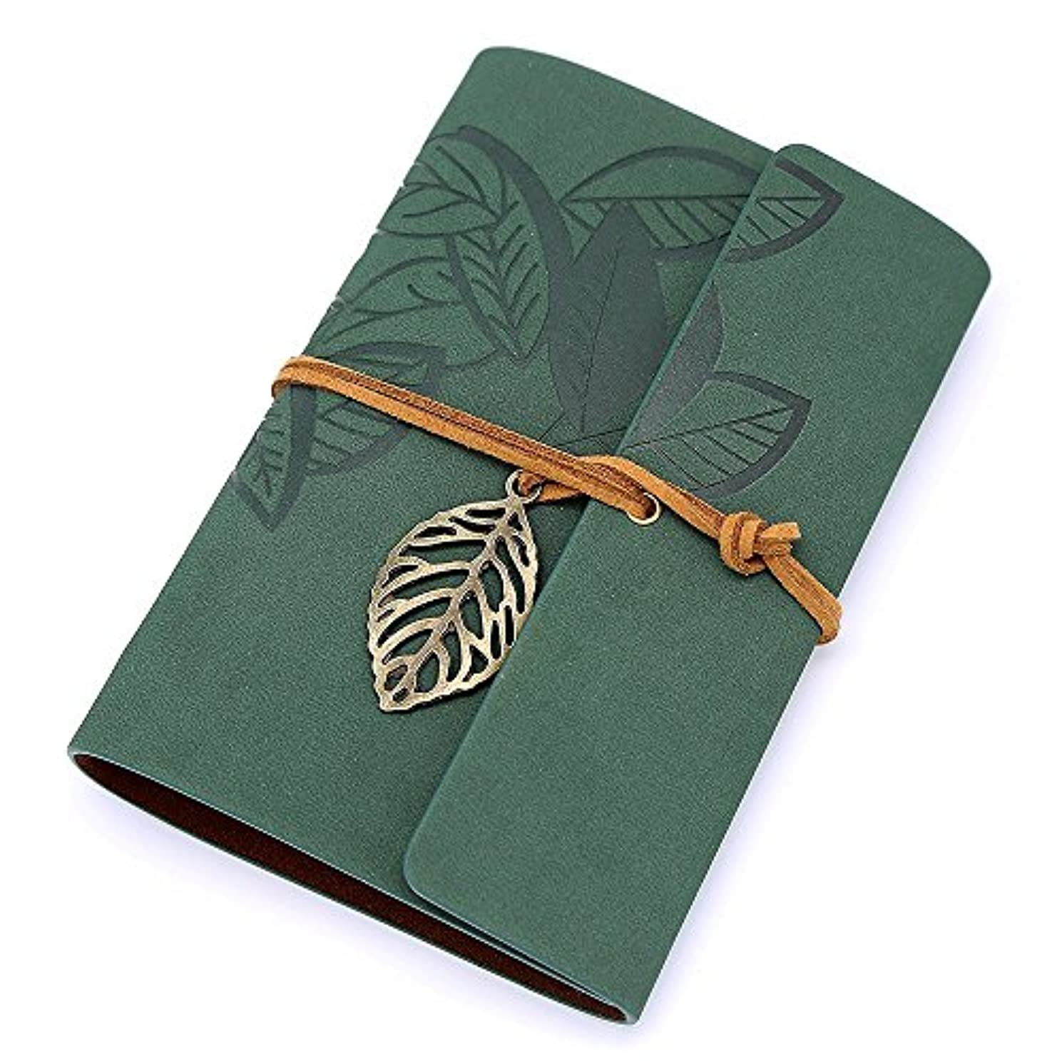 Biowow PU Leather Cover Loose Leaf Blank Vintage Dark Green Notebook Journal Diary