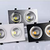 Square double head dimmable embedded LED downlight 14W / 18W / 24W COB LED...