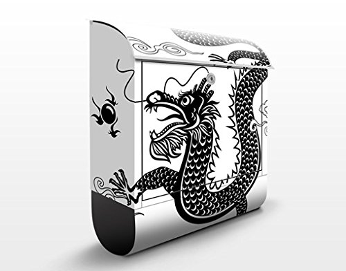 Briefkasten mit Zeitungsrolle Asiatischer Drache 46cm x 39cm