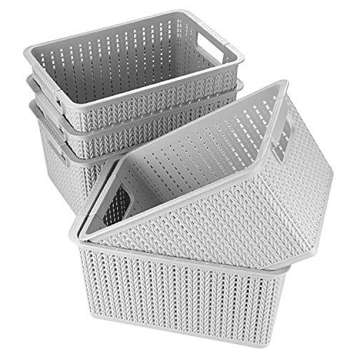 ASelected Pack of 5 Plastic Weaved Style Rectangular Storage Baskets Set - 27cm x 19cm x 15cm - Small Plastic Storage Boxes for Bathroom Kitchen Shelves - Gray