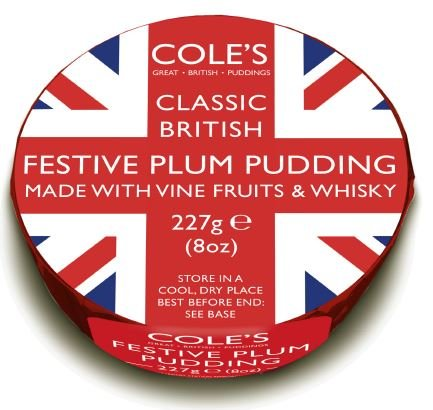 Cole's Traditional Christmas Pudding with Whiskey - Union Jack Design - 227g