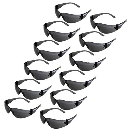 JORESTECH Eyewear Protective Safety Glasses, Polycarbonate Impact Resistant Lens Pack of 12 (Smoke)