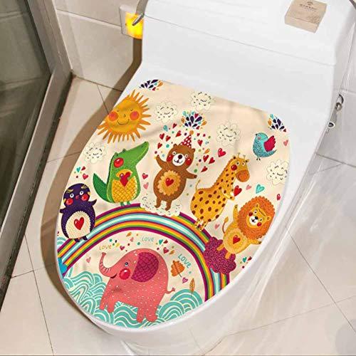 Toilet Sticker Cartoon, Happy Animals Bear Lion 3D Wall Stickers Self Adhesive for Toilet Bathroom Home Chair Closestool Sofa 8 x 11 Inch