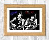 Reproduction d'autographe dédicacée de Ronnie Wood & Keith Richards Rolling Stones - Format A4 (cadre en chêne)